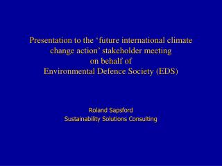 Roland Sapsford Sustainability Solutions Consulting