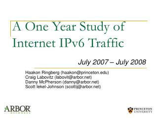 A One Year Study of Internet IPv6 Traffic