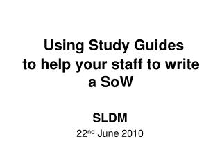 Using Study Guides to help your staff to write a SoW