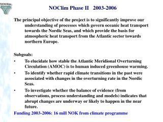 NOClim Phase II   2003-2006