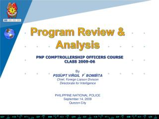 PNP COMPTROLLERSHIP OFFICERS COURSE CLASS 2009-06