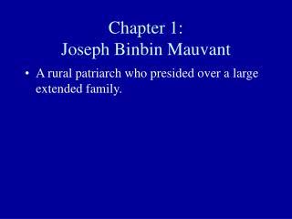 Chapter 1 : Joseph Binbin Mauvant