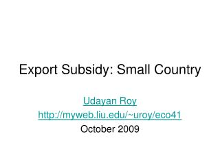 Export Subsidy: Small Country