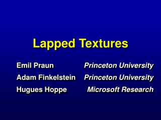 Lapped Textures