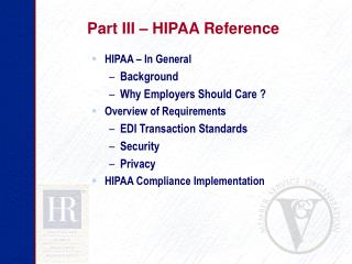 Part III – HIPAA Reference