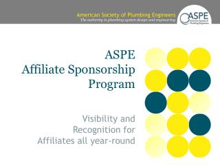 ASPE   Affiliate Sponsorship  Program