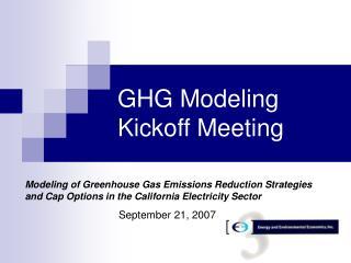 GHG Modeling Kickoff Meeting