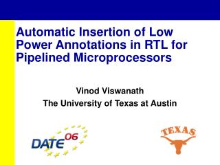 Automatic Insertion of Low Power Annotations in RTL for Pipelined Microprocessors