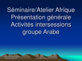 Séminaire/Atelier Afrique Présentation générale Activités intersessions groupe Arabe