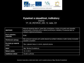 Kyselost a zásaditost, indikátory Chemie VY_32_INOVACE_230 ,  12.  sada,  CH