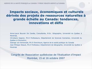 Anne-Laure Bouvier De Candia, Consultante, M.Sc. Géographie, Université du Québec à Montréal,