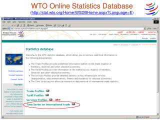 WTO Online Statistics Database ( stat.wto/Home/WSDBHome.aspx?Language=E )