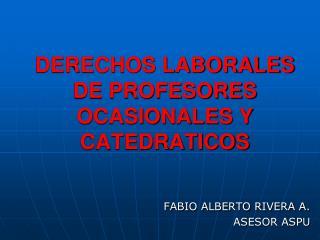 DERECHOS LABORALES DE PROFESORES OCASIONALES Y CATEDRATICOS