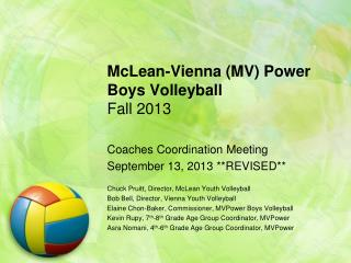 McLean-Vienna (MV) Power Boys Volleyball  Fall 2013
