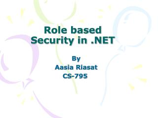 Role based Security in .NET
