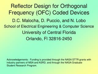 Reflector Design for Orthogonal Frequency (OFC) Coded Devices