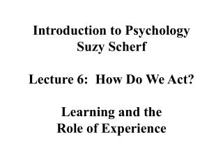 Introduction to Psychology Suzy Scherf  Lecture 6:  How Do We Act  Learning and the  Role of Experience