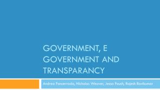 Government, E Government and  transparancy