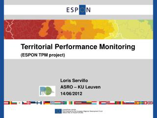 Territorial Performance Monitoring (ESPON TPM project)