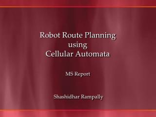 Robot Route Planning  using  Cellular Automata