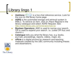 Library lingo 1
