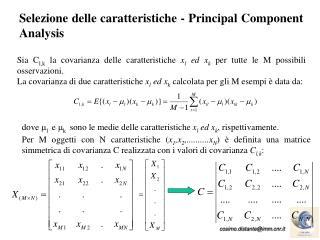 Selezione delle caratteristiche -  Principal Component Analysis