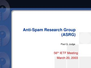 Anti-Spam Research Group (ASRG)