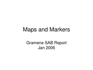 Maps and Markers
