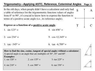 Trigonometry—Applying ASTC, Reference, Coterminal Angles