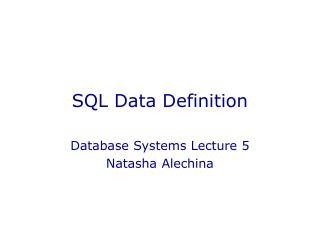 SQL Data Definition