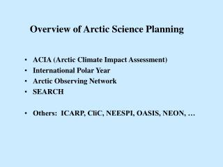 Overview of Arctic Science Planning