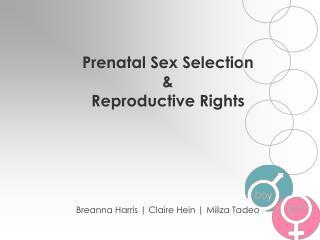 Prenatal Sex Selection        &                        Reproductive Rights