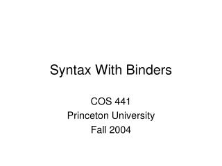 Syntax With Binders