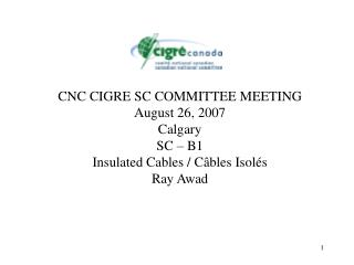 CNC CIGRE SC COMMITTEE MEETING August 26, 2007 Calgary SC   B1 Insulated Cables