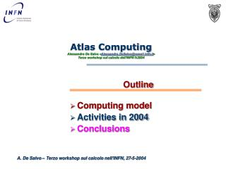 Outline Computing model Activities in 2004 Conclusions