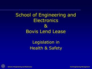 School of Engineering and Electronics   Bovis Lend Lease