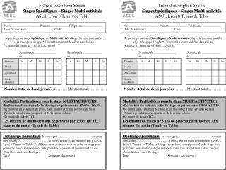 Fiche d'inscription Saison  Stages Spécifiques – Stages Multi activités