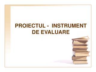 PROIECTUL -  INSTRUMENT DE EVALUARE
