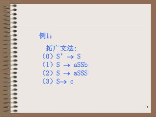 例 1 :   拓广文法 : ( 0 ) S'   S ( 1 ) S   aSSb  ( 2 ) S   aSSS ( 3 ) S c