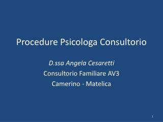 Procedure Psicologa Consultorio