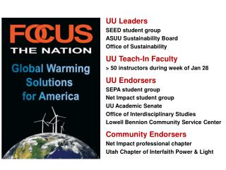 UU Leaders SEED student group ASUU Sustainability Board Office of Sustainability