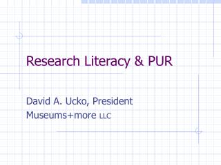 Research Literacy & PUR