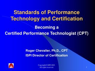 Standards of Performance Technology and Certification