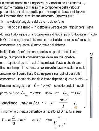 2)     l'angolo massimo  q   rispetto alla verticale che raggiungera' l'asta