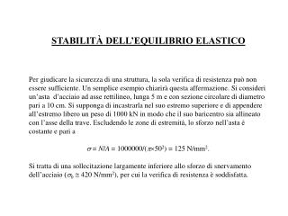 STABILITÀ DELL'EQUILIBRIO ELASTICO