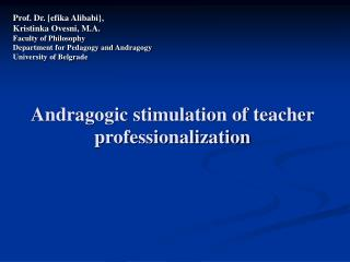 Andragogic stimulation of teacher professionalization