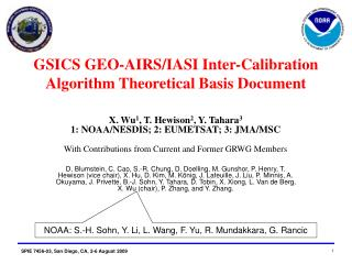 GSICS GEO-AIRS/IASI Inter-Calibration Algorithm Theoretical Basis Document