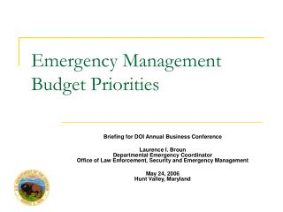 Emergency Management  Budget Priorities