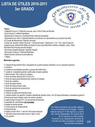 LISTA DE ÚTILES 2010-2011 3er GRADO