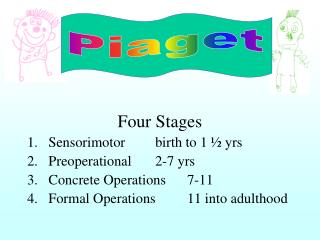 Four Stages Sensorimotor	birth to 1 ½ yrs Preoperational	2-7 yrs Concrete Operations 	7-11